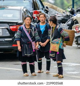 SAPA, VIETNAM - SEP 20, 2014: Unidentified Hmong woman in the Hmong traditional costume. Hmong people is a minority ethnic group living in Sapa