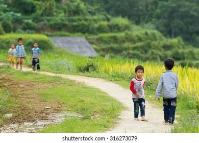 SAPA, VIETNAM, SEPT 6: H'mong ethnic minority children on September 6, 2015 in Sapa, Vietnam. H'mong is the 8th largest ethnic group in Vietnam.