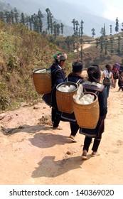 SAPA-CIRCA MARCH 2009: Unidentified Hill Tribe Women during a tourist trek circa March, 2009 in Sapa,Vietnam