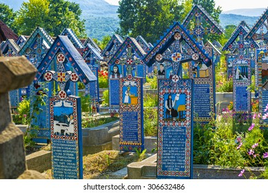 SAPANTA, ROMANIA - AUGUST 10, 2015 - Painted wooden crosses in the beautiful Merry Cemetery in Maramures County, an unique and funny monument in the entire world