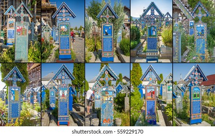 Sapanta, Romania - August 10, 2015 - Painted wooden crosses photo collage in the famous Merry Cemetery in Maramures, an unique and amusing monument in the entire world