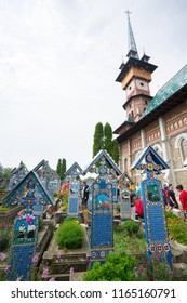 Sapanta Romania. August 16, 2018. happy cemetary with colored tombstones called Cimitirul Vesel