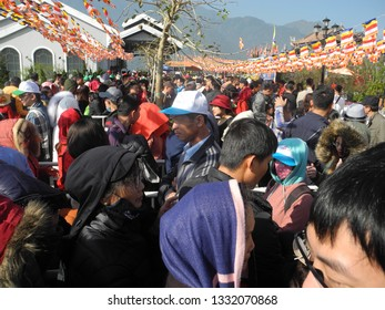 Sapa,Vietnam March 3, 2019:the group of tourists on the way to Fansipan peak is 3143 meters above sea level.This is the highest mountain in Vietnam and some neighboring countries like Lao and Cambodia
