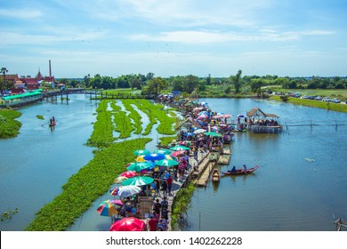 Saphan Khong Floating Market,Song Phi Nong District,Suphanburi,Thailand on December 15,2018:Bird's-eye view of the market seen from giant fish trap viewpoint.
