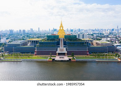 Sappaya-Sapasathan (The Parliament of Thailand), Government office, Aerial view National Assembly with golden pagoda on the chao phraya river in Bangkok