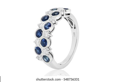 Sapphire and diamond ring in gold, wedding jewelry