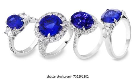 sapphire ring with diamond white and blue,  gemstone jewelry rubi