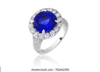 Sapphire ring with diamonds , gemstone jewelry