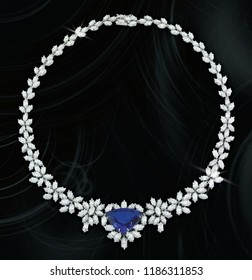 Sapphire stone with diamond expensive necklace black background