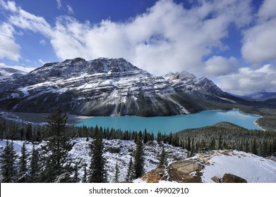 Sapphire-blue of star-shaped Peyto Lake blinking white-grey snowy mountains rimmed with white clouds Banff
