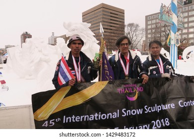 Sapporo City /Japan: February  8   2018 :   International Snow Sculpture Championships  in Sapporo snow festival . Thailand team won with  cockfighting  sculpture
