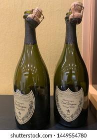 Sapporo city /Japan : June 1  2019 :Two bottles of Dom Perignon 2009