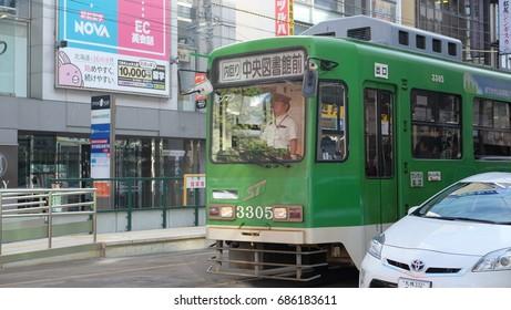 SAPPORO CITY, JAPAN - SEPTEMBER, 2016: Electric tram in Sapporo city.
