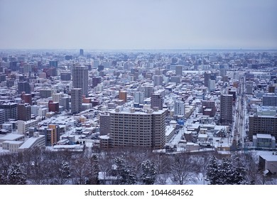Sapporo city view from Mt.Moiwa in Hokkaido, Japan on 14 February 2018