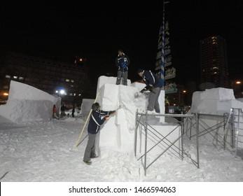 Sapporo City/Japan : February 3 .: International Snow Sculpture Contest in Sapporo Snow festival 2019