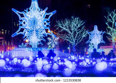 Sapporo Hokkaido ,Japan December 2017 ,A lot of tourists visit the illumination which is held every year at Sapporo Odori Park