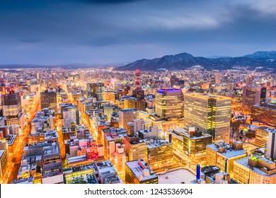 Sapporo, Hokkaido, Japan downtown skyline from above at twilight.