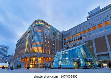 Sapporo Hokkaido, Japan - July 4, 2019: Overview of Sapporo Train Stationafter sunset. Photo shows the Daimaru Building, Sapporo Hokkaido, Japan.