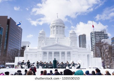 Sapporo, Japan, 02/20/2019 , Sapporo snow festival, and a concert in front of a snow creation.
