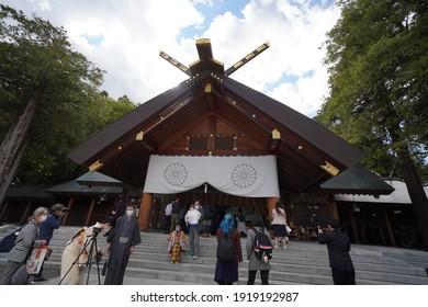 Sapporo, Japan - 17 Oct 2020:  Shichigosan at Hokkaido Shrine
