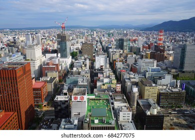 SAPPORO, JAPAN -26 JUN 2017- Landscape view of buildings in the Sapporo skyline. Sapporo is the largest city in the Northern island of Hokkaido and the fifth largest city in Japan.