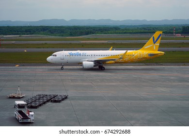 SAPPORO, JAPAN -29 JUN 2017- A plane from Japanese low-cost airline Vanilla Air (JW), owned by ANA, at the New Chitose Airport (CTS) in Sapporo, Hokkaido, Japan.