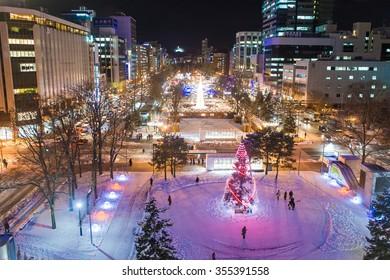 SAPPORO, JAPAN - DECEMBER 17, 2014: New Year illumination on at Sapporo Odori park in Hokkaido, Japan.