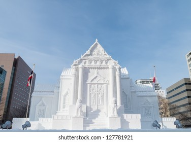 SAPPORO, JAPAN - FEB. 10 : Snow sculpture of Wat Benchamabophit at Sapporo Snow Festival site on February 10, 2013 in Sapporo, Hokkaido, japan. The Festival is held annually at Sapporo Odori Park.