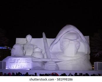Sapporo, JAPAN - Feb 11, 2017: Star wars snow sculpture at 68th Sapporo Snow Festival