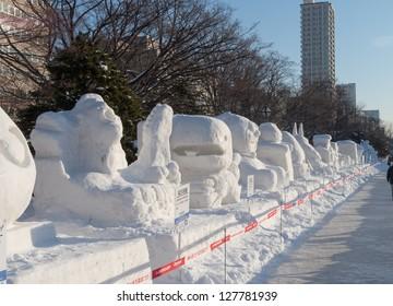 SAPPORO, JAPAN - FEB. 11 : Snow sculptures at Sapporo Snow Festival site on February 11, 2013 in Sapporo, Hokkaido, japan. The Festival is held annually at Sapporo Odori Park.