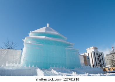 SAPPORO, JAPAN - FEB. 5 : Ice sculpture of Chiang Kai-shek Memorial Hall at Sapporo Snow Festival on February 5, 2013 in Sapporo, Hokkaido, japan. The Festival is held annually at Sapporo Odori Park.