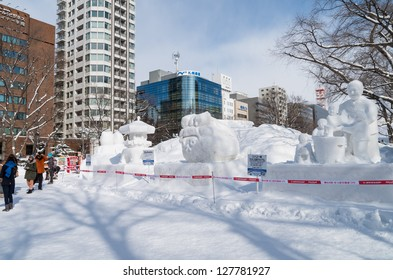 SAPPORO, JAPAN - FEB. 5 : Snow sculptures at Sapporo Snow Festival site on February 5, 2013 in Sapporo, Hokkaido, japan. The Festival is held annually at Sapporo Odori Park.