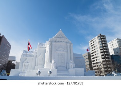 SAPPORO, JAPAN - FEB. 5 : Snow sculpture of Wat Benchamabophit at Sapporo Snow Festival site on February 5, 2013 in Sapporo, Hokkaido, japan. The Festival is held annually at Sapporo Odori Park.