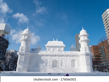 SAPPORO, JAPAN - FEB. 6 : Snow sculpture of I'timad-ud-Daulah at Sapporo Snow Festival site on February 6, 2014 in Sapporo, Hokkaido, japan. The Festival is held annually at Sapporo Odori Park.