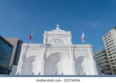SAPPORO, JAPAN - FEB. 7 : Snow sculpture of Manira Cathedral at Sapporo Snow Festival site on February 7, 2015 in Sapporo, Hokkaido, japan. The Festival is held annually at Sapporo Odori Park.