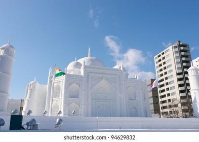 SAPPORO, JAPAN - FEB. 8 : Snow sculpture of the Taj Mahal at the Snow Festival on February 8, 2012 in Sapporo, Hokkaido, japan. Sapporo Snow Festival is held annually at Sapporo Odori Park.