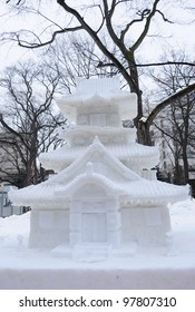 Sapporo, Japan - February 2012: The 63rd Sapporo Snow Festival at Odori Park. It was held from February 6 to 12, 2012, people come to see the hundreds of beautiful snow statues and ice sculptures.