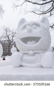 Sapporo, Japan - February 2017: The 68th Sapporo Snow Festival at Odori Park. It was held from February 6 to 12, 2017, people come to see the hundreds of beautiful snow statues and ice sculptures.