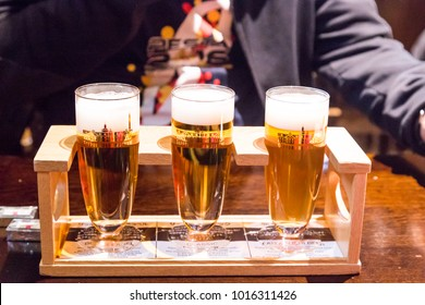 Sapporo, Japan, January 28, 2018:  Sapporo Beer Museum is popular tourist attraction. Sampling of different beer brew avaiable for a token.