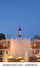 SAPPORO, JAPAN - JUNE. 12 : Night scene of Sapporo TV Tower and the West 3 Fountain on June 12, 2013 in Sapporo, Hokkaido, japan. The Tower and Fountain are located at Sapporo Odori Park.