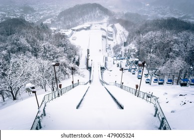 Sapporo, Japan - March 11, 2015: Looking down the ski jump from the observation deck at Okurayama, home of the Winter Olympics in 1972