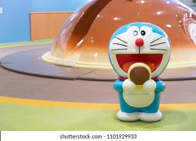 SAPPORO - JAPAN - MARCH 30 2018 - Doraemon model standing in the new chitose airport ,Hokkaido, Japan.