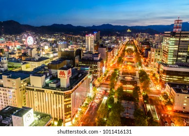 SAPPORO, JAPAN - May 19 2017: Night View of Sapporo city from TV Tower in Sapporo, Hokkaido, Japan.