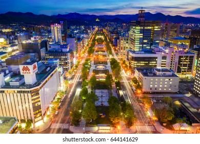 SAPPORO, JAPAN - MAY 19, 2017: Night View of Sapporo city from TV Tower in Sapporo, Hokkaido, Japan.