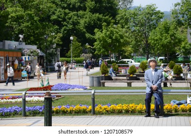 SAPPORO, JAPAN - MAY 26,2015: Japanese local people and lifestyle in city of Sapporo with architecture building style, Hokkaido