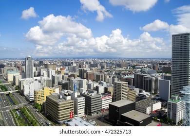 Sapporo Japan,September 8 2013:Cityscape of Sapporo through a Window of Sapporo TV Tower