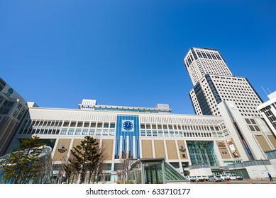 Sapporo station south entrance, Sapporo, Hokkaido, Japan - April 10, 2017 : Sapporo station is the main station for JR train, subway and bus in Sapporo.