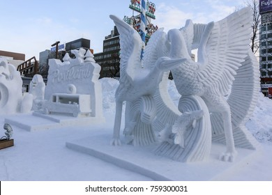 Sapporo,Japan- 9 February 2017: Beautiful snow sculptures in Sapporo snow festival 2017 in winter season.The scenery of the 68th Sapporo Snow Festival. Snow statues of various themes are displayed.