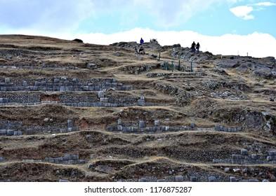 Saqsaywaman ruins (Sacsayhuaman) in Cusco (historic capital of the Inca Empire). Peru. World Heritage Site by UNESCO - popular tourist destination in Peru. Photo taken 2018-08-25.