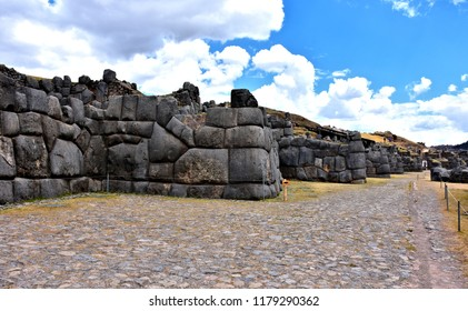 Saqsaywaman ruins (Sacsayhuaman) in Cusco (historic capital of the Inca Empire). Peru. World Heritage Site by UNESCO - popular tourist destination in Peru. Photo taken 2018-08-25.